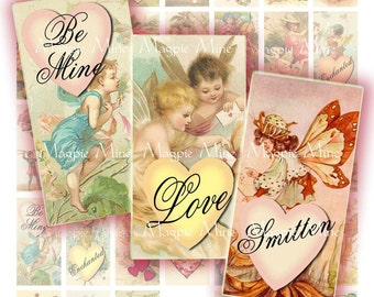 Romantic Fairies Digital Collage Sheet - 1 x 2 Inch Rectangles - Printable - Instant Download