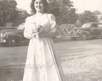 Love Pat, Vintage Photo Young Woman White Dress Boutique of Flowers