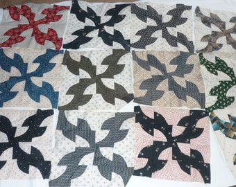 """14 Vintage PATCHWORK Quilt Blocks...Drunkards Path...11.5"""" Square...Free Shipping"""