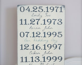 Important Date Wood Sign, Wedding Date Sign, Personalized Family Sign, Custom Date Sign, Anniversary Sign, Birth Dates, Wood Wall Art