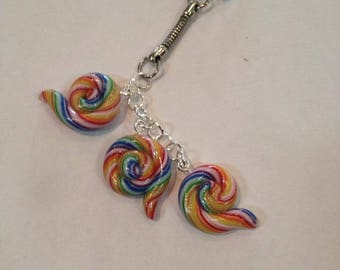 Key chain mini lollipop swirl
