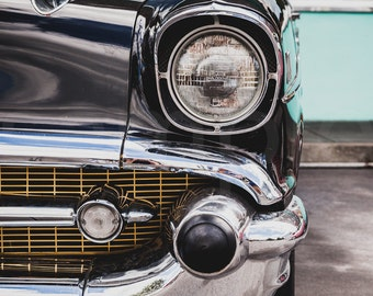 Face To Face - Chevrolet, Classic, Car, Automobile, Transport, Front, Grille, Headlight, Photo, Photography, Print,