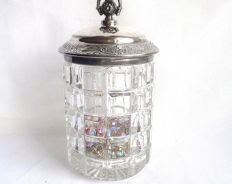 Heavy Cut Crystal Vintage Jelly Jar and Silver Plated Floral Detail Metal Lid - Square Cut Thick Crystal
