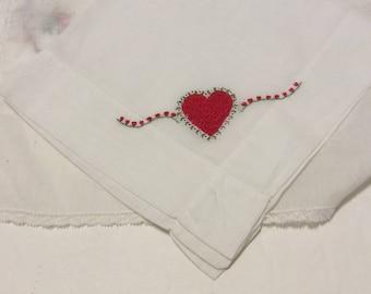 Valentine's Day handkerchief, vintage handkerchief, vintage hankie, vintage hanky, red handkerchief, heart handkerchief