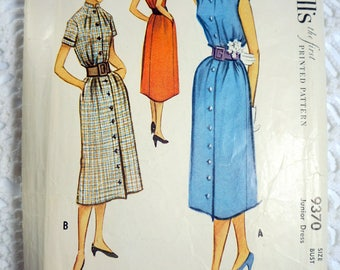 1950's Vintage McCall's 9370 Sewing Pattern - Junior Shirt Dress Size 15 Bust 33