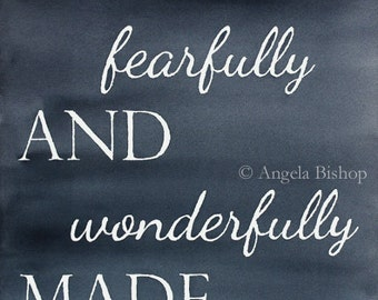 I am Fearfully and Wonderfully Made Painting Print, Psalm 139:14, Watercolor Painting Print, Sign, Lettering, Christian, Painting, Gray