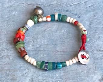 Boho, hippie, friendship bracelet, Ethnic, layering bracelet, Gypsy bracelet, Tribal bracelet, Trade bead bracelet, macrame, trade beads
