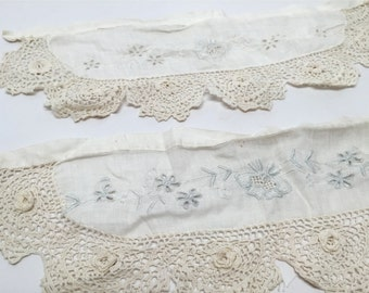 Edwardian Lace and Embroidery Cuffs, Victorian, Irish Crochet Lace, Costume, Downton Abby Style, 1900