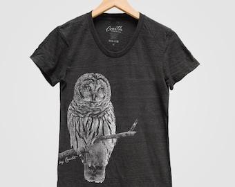 OWL Shirt Women Custom Hand Screen Printed on American Apparel Tri-Blend Short Sleeve Tshirt