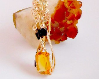 Faceted Citrine Pendant with Black Onyx Beads