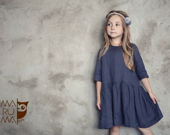 Girls Clothing Girls Linen dress Dark gray linen dress gray flower girls dress Linen girls outfit