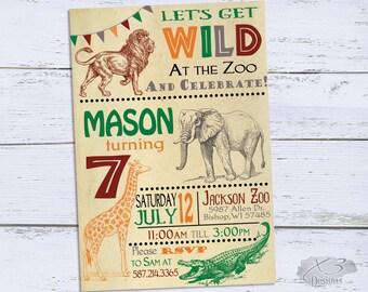 Zoo Birthday Invitations, Jungle 1st Birthday Invitations, 7th Birthday Party Invitation Printable, Safari First Birthday Invites