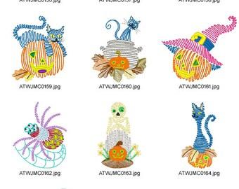 Halloween-Line-Designs. ( 10 Machine Embroidery Designs from ATW ) XYZ17B