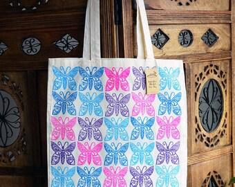 Butterflies Tote Bag, Cotton Market Bag, Hand Printed
