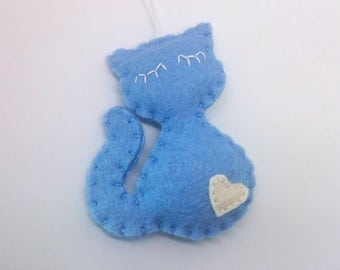 Blue felt cat ornament Christmas kitty home decor gift idea for Baby shower wool feltro filz filc black white brown grey orange eco friendly