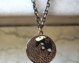 Golden Pangolin Enamel Necklace