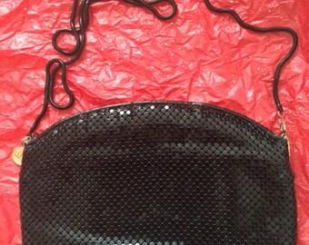 Vintage LaRegale Black Mesh Shiny Shabby Chic Evening Handbag shoulder bag