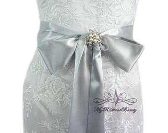 Bridal Satin Sash, Wedding Sash, Silver Sash Belt, Wedding Accessory, Bachelorette Sash, Bridesmaid Sash, Prom Sash, My Radiant Beauty SS005