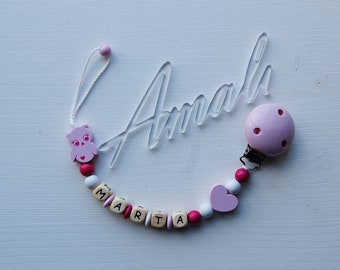 Personalized pacifier clip girl Wooden clip Baby shower gift Pink Pacifier holder