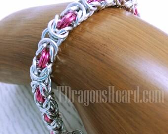 Byzantine Bracelet - Silver & Pink