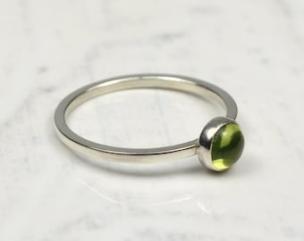 Peridot Birthstone Sterling Silver Ring, Peridot Band Ring