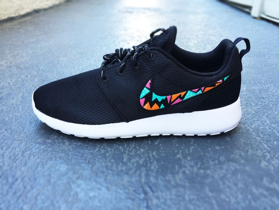 362bb7d6d1f ... wholesale womens custom nike roshe run sneakers triangle tribal design  hot pink teal and 7f651 b92b5