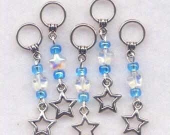 Blue Stars Knitting Stitch Markers No-snag AB Crystal Stars Set of 5/SM63A