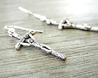 Crucifix Cross Earrings Silver Color Dangle Earrings Religious Earrings