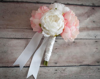 Petite Ivory and Blush Pink Peony Wedding Bouquet