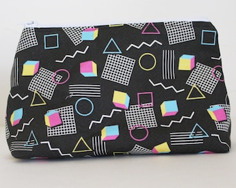 Memphis Style 90s Abstract Geometirc Funky Zipper Makeup or Pencil Bag | Gifts Under 20 Dollars