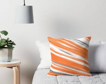 Orange Gray Pillow, Orange Gray Throw Pillow, Orange Gray Toss Throw Pillow, Orange Gray Pillow Case, Orange Gray Pillow Cover, Orange Gray