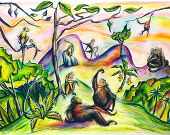 "Monkeys of the world, Jane Goodall primate drawing, 5""x7"", animal conservation, giclee, postcard, jungle picture, celebrate primates!"