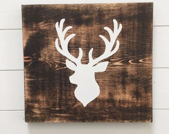 Deer Head Silhouette Wood Sign - Deer Head Wood Sign- Buck Head Wood Sign - Woodland Nursery Decor -  Forest Nursery - Hunting Home Decor