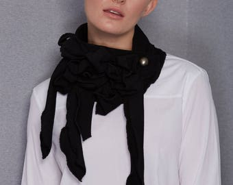 Hoola! Jersey Rib, Full Tasseled Scarf, Secured with a button, No Tie, Stunning,