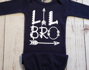 Little Brother Arrow Gown Infant Sleeper Gown Hospital Outfit Newborn Baby Boy Outfit