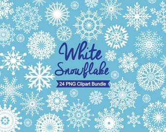 """White Snowflake Clipart """"CHRISTMAS CLIPART"""" Instant download holiday clipart, Digital Snowflake, white snowflakes, Clip art"""