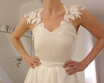 Yours and Mine Bridal Spring 2018 Womens Bridal Separates: Ivory Bodysuit Lace shoulders and Sweetheart Neckline