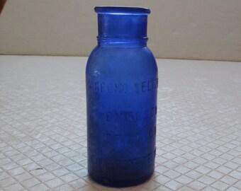 Antique 5 inch Cobalt Blue BROMO SELTZER Emerson Drug & Co Baltimore MD Bottle