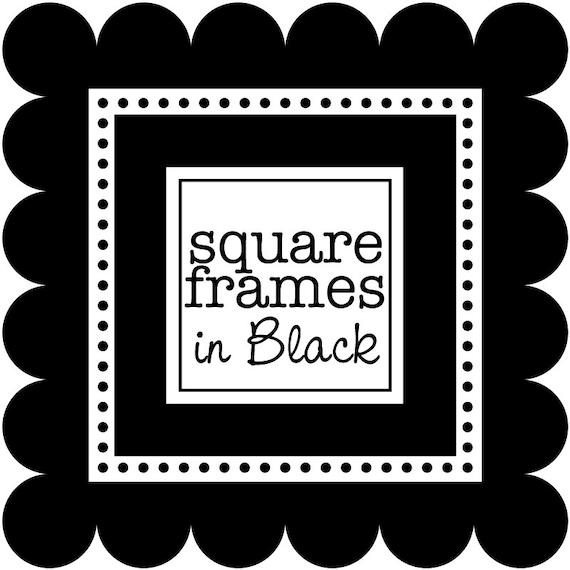 Digital Clip Art Square Frames in Black