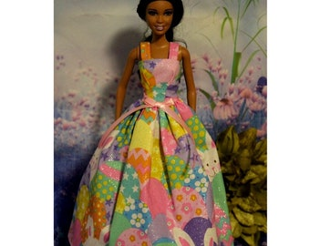 Gown covered in Easter Bunnies & Eggs. Handmade in the USA 1:6 Scale Fashion Doll Clothes. (Barbie, crown and necklace not included)