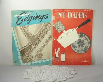 Vintage Pattern Books Pot Holder Pattern  Handkerchief  Pattern 1940s Clarks Pattern Crochet Patterns Hankies