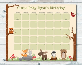 Baby Prediction Calendar Printable, Woodland Baby Shower Due Date Calendar, Baby Shower Birthday Prediction Calendar, Woodland Calendar