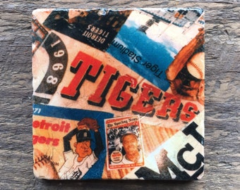 Detroit Tigers coaster with cork backing, reclaimed wood frame optional