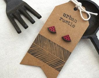 Watermelon Pink wooden stud earrings - fruit earrings - food earrings - wooden earrings - wooden jewelry - wooden jewellery - wooden studs