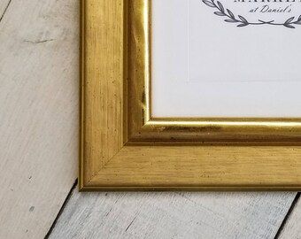 Adrienne Gold Wood Picture Frame with White Mat 8x10, 9x12, 11x14, 14x16, 16x20 Custom Standard and custom sizes available.