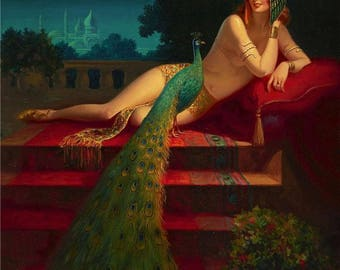 EGGLESTON Large 20x24 Canvas Egyptian HAREM BELLY Dancer Peacock Illustration Fantasy Pin-Up Lingerie Nude Deco Nouveau Egyptian Clive Pinup