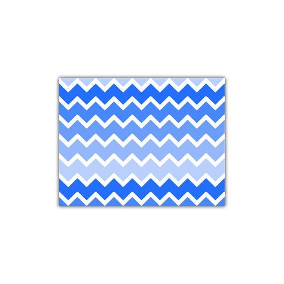 Blau OMBRE CHEVRON Wallpaper Border Aufkleber Wand Kunst junge