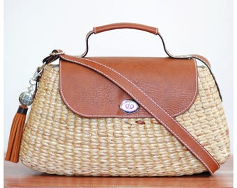 Straw bag purse, straw handbag, straw tote, crossbody bag, straw bag, straw basket purse,  faux leather  (Mia Crossbody-Teracotta)