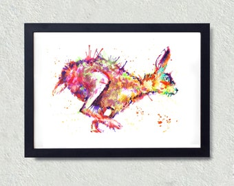 Running Hare, Animal Art, Hare Wall Print, Printable Gift, Colour, , Purple,Multi- Coloured, Digital Download, Art Amigo Design, Watercolour