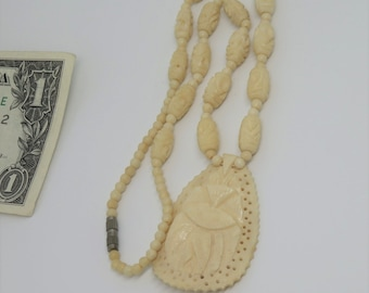Antique 1920s Large Carved Bone Necklace